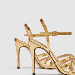 89ec272af0217 Zara Shoes - ZARA GOLD HIGH HEELS LAMINATED STRAPPY SANDALS